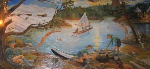 Veggmaleri av Helge Fjeld
